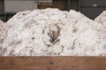 Pile of merino wool in wooden box Royalty Free Stock Photo