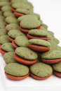 Pile of mint marron cookies Stock Photo