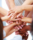 Pile of mixed hands in union Royalty Free Stock Photo