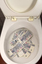 Pile of money in a toilet Royalty Free Stock Photo