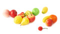 Pile of multiple artificial plastic fruits and berries isolated over the white background Stock Photography