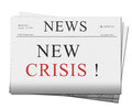 Pile newspaper issues crisis news isolated white background Royalty Free Stock Photos