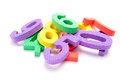 Pile of numbers a colorful in children s foam on white background Stock Photos