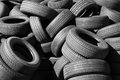 Pile of old automotive tires used Royalty Free Stock Photos