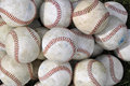 Pile of old baseballs Royalty Free Stock Photo