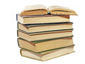 Pile of old books.Isolated. Royalty Free Stock Photography