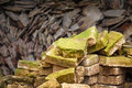 Pile of old brick grow with moss stack Royalty Free Stock Photo