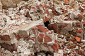 A pile of old broken red bricks close up Stock Images