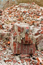 A pile of old broken red bricks close up Royalty Free Stock Photo