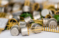 Pile of old capacitors background Royalty Free Stock Image