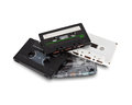 Pile of old cassette tapes on white background including clipping mask Royalty Free Stock Image