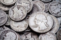 Pile of old Silver Dimes & Quarters 2 Royalty Free Stock Photography