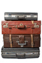 Pile of old vintage bag suitcases a Stock Photos