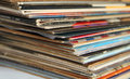 Pile of old vinyl records closeup Stock Image