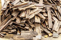 Pile of old wooden roof for recycling Royalty Free Stock Images