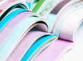 Pile of opened magazines colorful Royalty Free Stock Photography