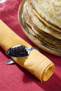 Pile of pancakes and caviar Stock Images
