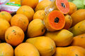 Pile of papaya fruit Royalty Free Stock Photo