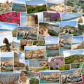 A pile of photographs arranged into a background. Stock Image