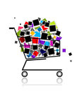 Pile of photos in shopping cart for your design Stock Photo