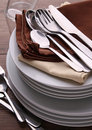 Pile of plate and cutlery Royalty Free Stock Photography