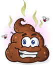 Pile of poop cartoon character a steaming smelly brown with a big smile fumes and flies Stock Photos