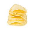 Pile of potato chips isolated on white background Royalty Free Stock Photo