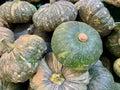 Pile of pumpkins on floor