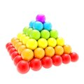Pile pyramid of glossy spheres isolated on white colorful rainbow colored background Royalty Free Stock Images