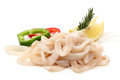 Pile of raw squid rings Stock Photos