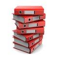 Pile of red binder folders