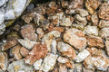 Pile of red and whte stones in a forest, Polish jurrasic. Royalty Free Stock Photo