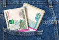 Pile of russian rouble bills in the jeans pocket back Stock Image