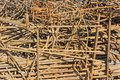 A pile of rusty iron rods Royalty Free Stock Photo