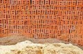 A pile of sand and brick in order to prepare for construction Royalty Free Stock Photography