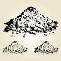 Pile of sand isolated on white. Hand drawn design element. Vecto