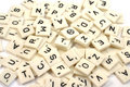 Pile of scrabble pieces Stock Photo