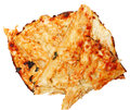 Pile of scraped off pizza crust for gluten allergies or low carb diet over white Stock Images
