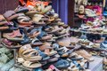 Pile of shoes in exotic market