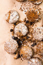 Pile of small cookies on brown paper parchament background Royalty Free Stock Photo