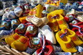 Pile of Souvenier Dutch Wooden Shoes Stock Images