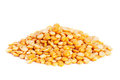 Pile split yellow peas isolated on white. Royalty Free Stock Photo