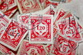 Pile of stamps Royalty Free Stock Photo