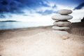 Pile of stones on the seashore Royalty Free Stock Photo