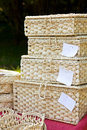 Pile of straw boxes Royalty Free Stock Photography