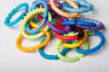 Pile toy links of baby toys Stock Image