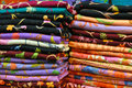 Pile of traditional colorful arabic scarves in dubai market Stock Photo