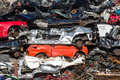 Pile of used cars car scrap yard old rusting in a junk Royalty Free Stock Image