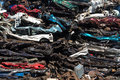 Pile of used cars car scrap yard old rusting in a junk Stock Images