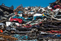 Pile of used cars car scrap yard old rusting in a junk Stock Image